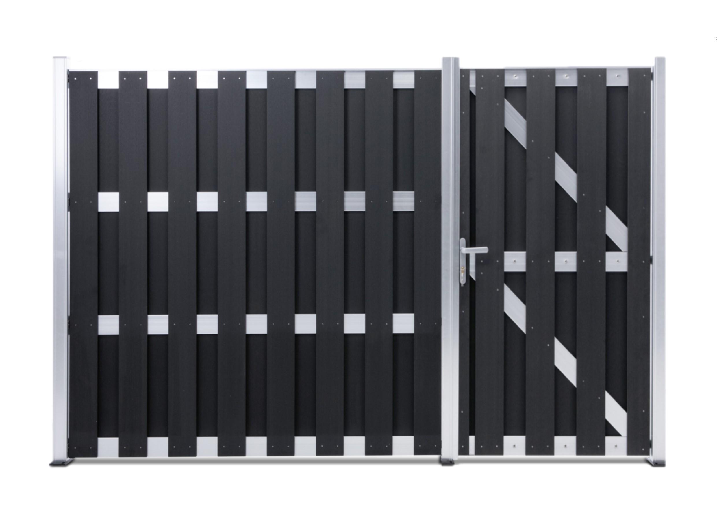 WPC Sichtschutzzaun Silver Line Komplettset mit WPC Tür Tor Gartentor