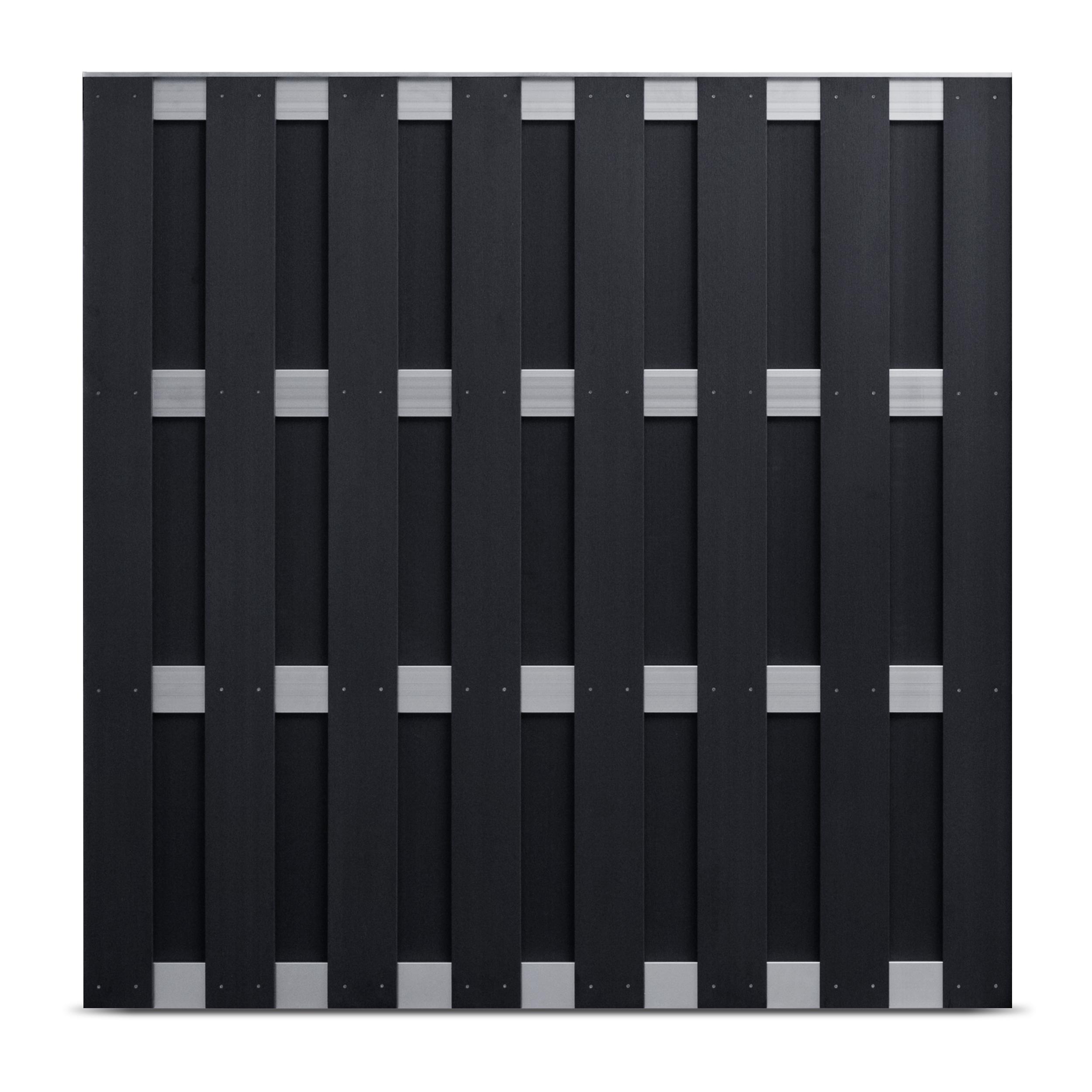 WPC Silver Line Fertigzaunelement 180 x 180 cm Anthrazit / Silber